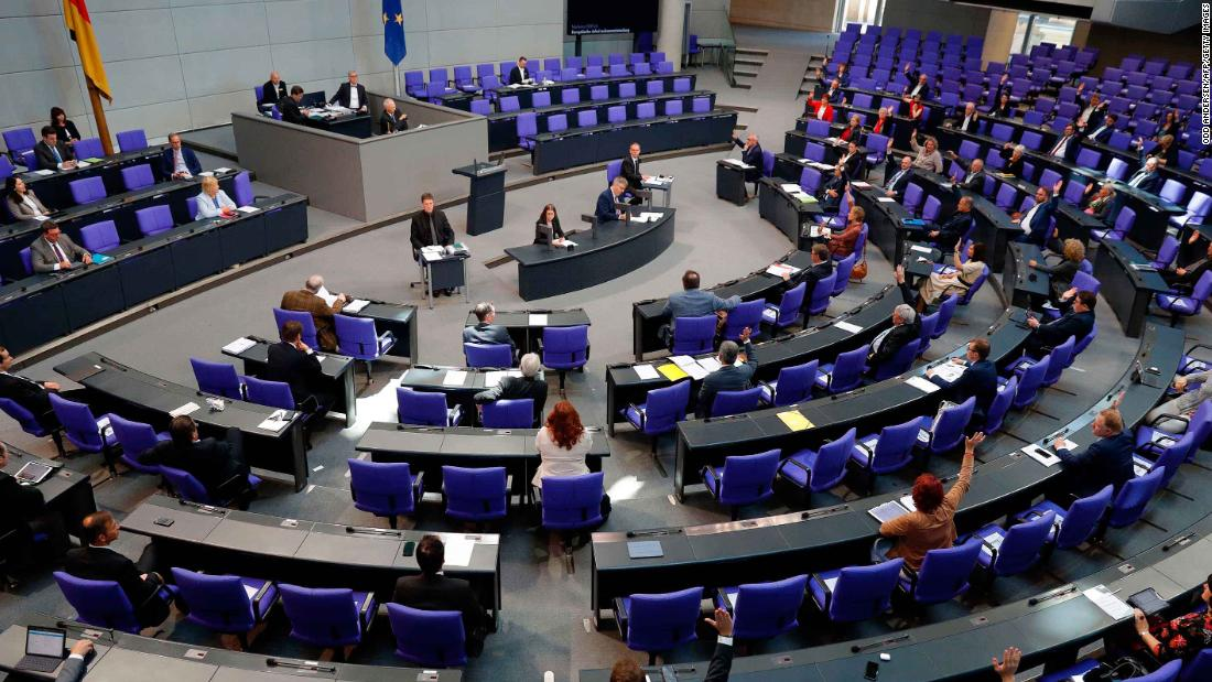 Members of parliament attend a session of the Bundestag on May 29, 2020 in Berlin.