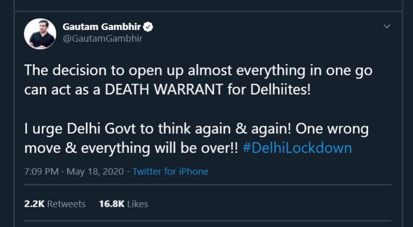 Gautam Gambhir melawan AAP