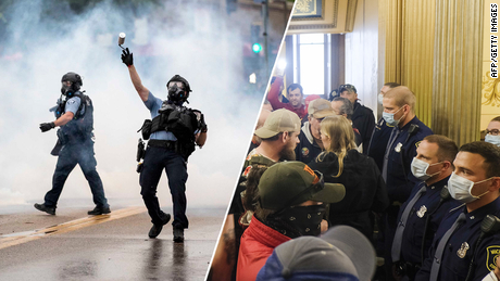 Gambar-gambar protes sendiri menceritakan kisah hierarki rasial Amerika