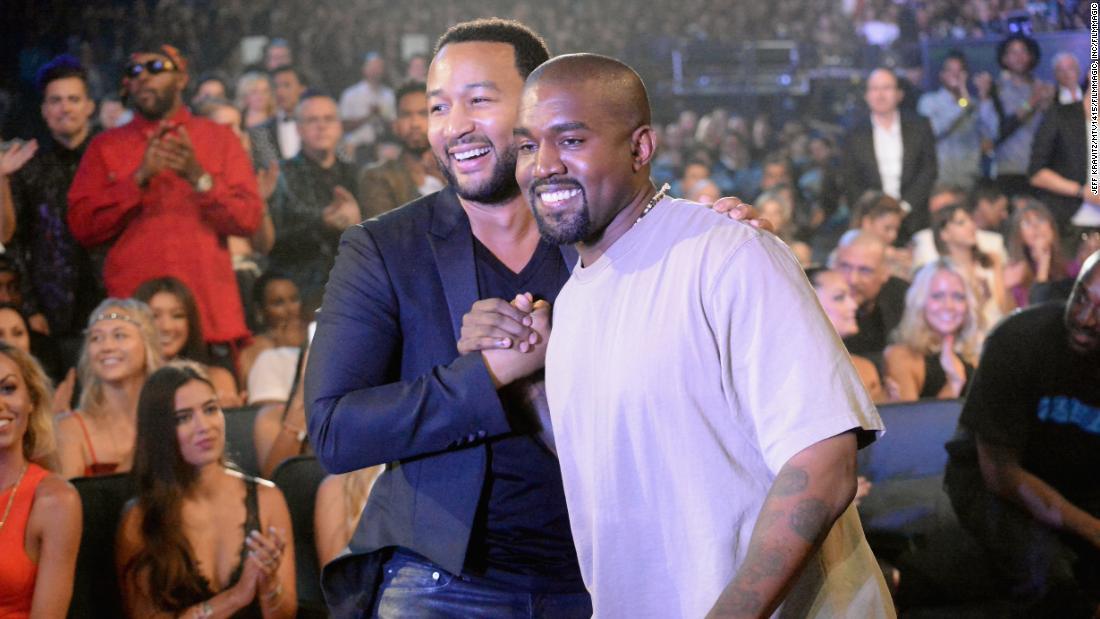 John Legend and Kanye West in 2015.  (Photo by Jeff Kravitz/MTV1415/FilmMagic)