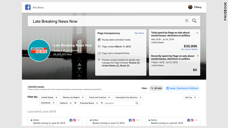 Gambar mockup yang mewakili bagaimana Facebook berencana mengidentifikasi konten media yang didukung negara. Facebook akan mulai mengeluarkan label dan informasi baru di halaman-halaman outlet media yang dikontrol negara.