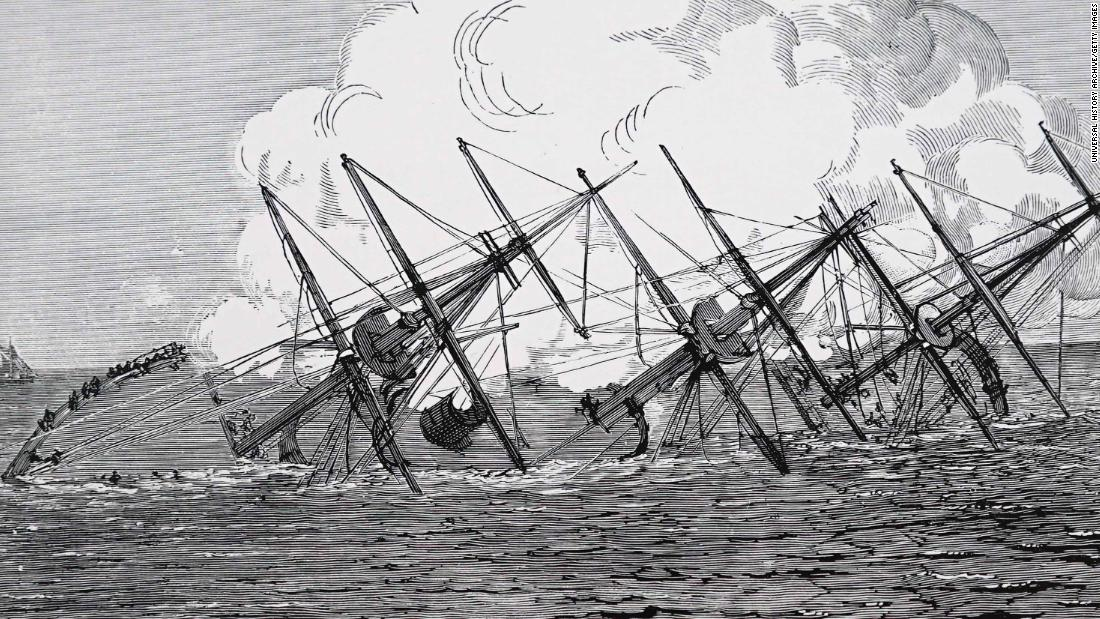 A 19th century illustration depicting the German ship SMS Grosser Kurfürst sinking after colliding with the Konig Wilhelm.