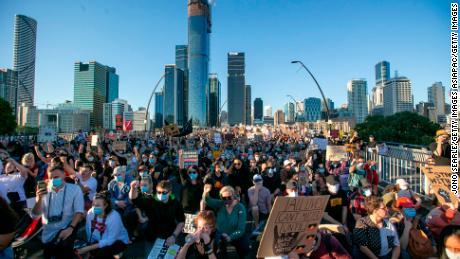 Aktivis di Brisbane pada hari Sabtu.
