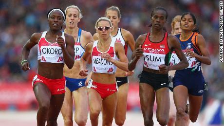Okoro, Jenny Meadows dari Inggris dan Eunice Jepkoech Sum dari Kenya bersaing di semifinal 800m Putri di Hampden Park pada hari kedelapan dari Commonwealth Games Glasgow 2014 pada 31 Juli 2014 di Glasgow.