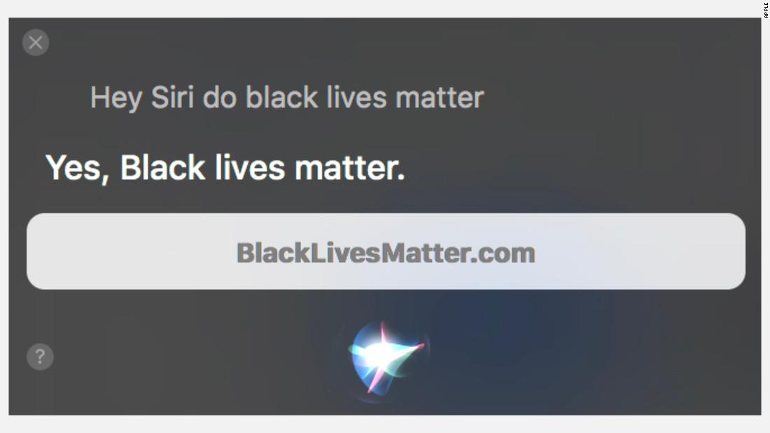 Siri points users to blacklivesmatter.com.